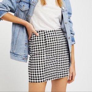 FREE PEOPLE Modern Femme Skirt Checked Gingham
